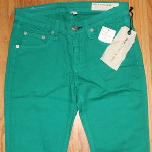 $168 7 FOR ALL MANKIND GREEN SKINNY JEANS SZ 26